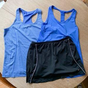 Workout Bundle 2 Blue Tanks and Black Skort Lot